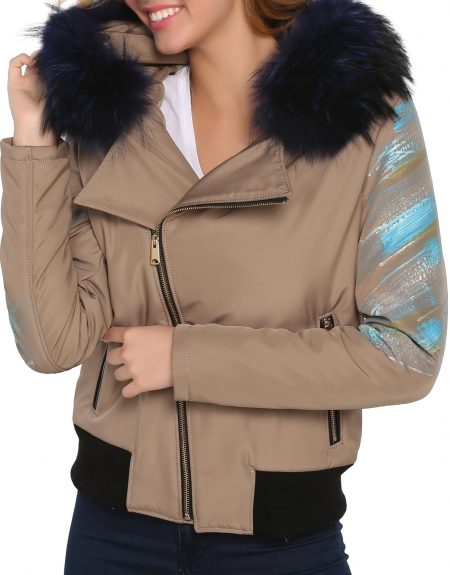 Beige_Fabric_Woman_Jacket-With-Fur