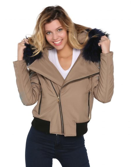 Beige_Fabric_Woman_Jacket_With-Fur