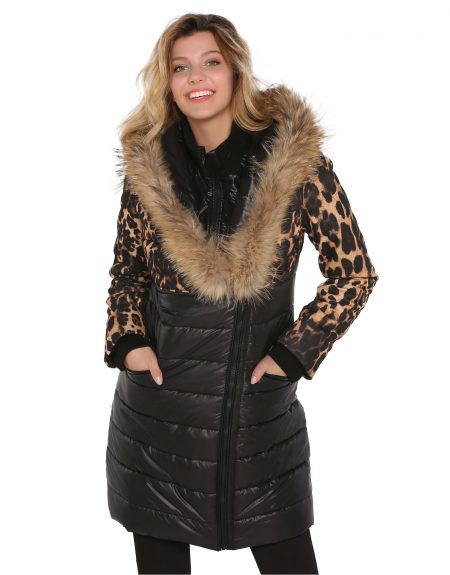 Fabric_Black_And_Leopard_Woman_Parka_With-Fur