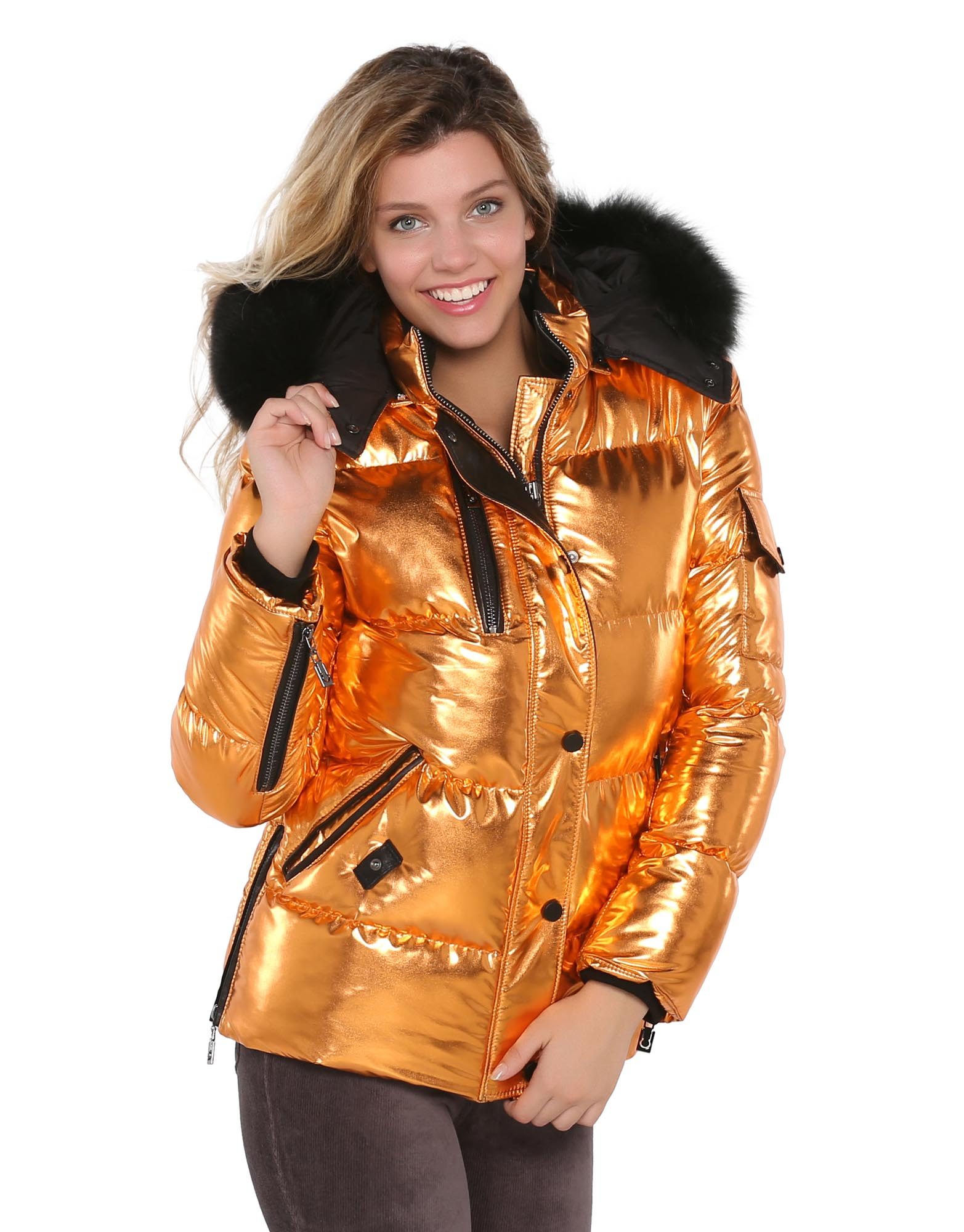 Metalic Orange Puffer Woman Jacket With Real Fur - S'ELITE ...