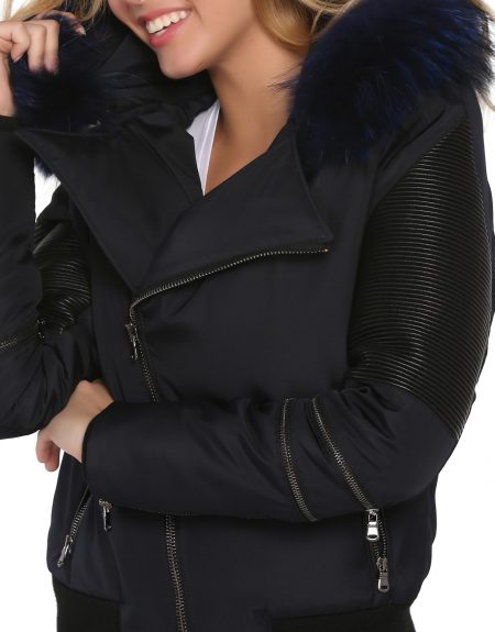 Navy_Blue_Woman_Fabric_Jacket_With-Fur-And-Leather