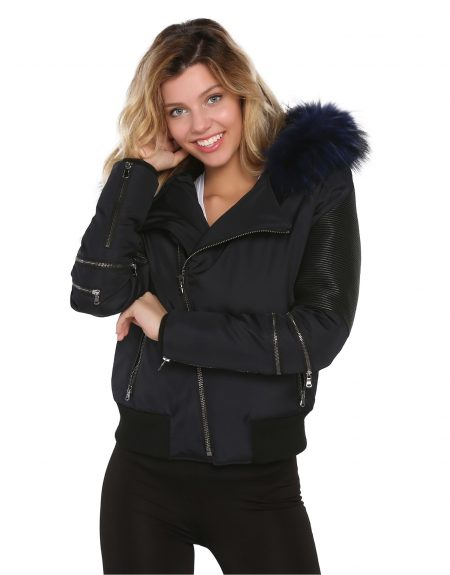 Navy_Blue_Woman_Fabric_Jacket_With_Fur_And-Leather