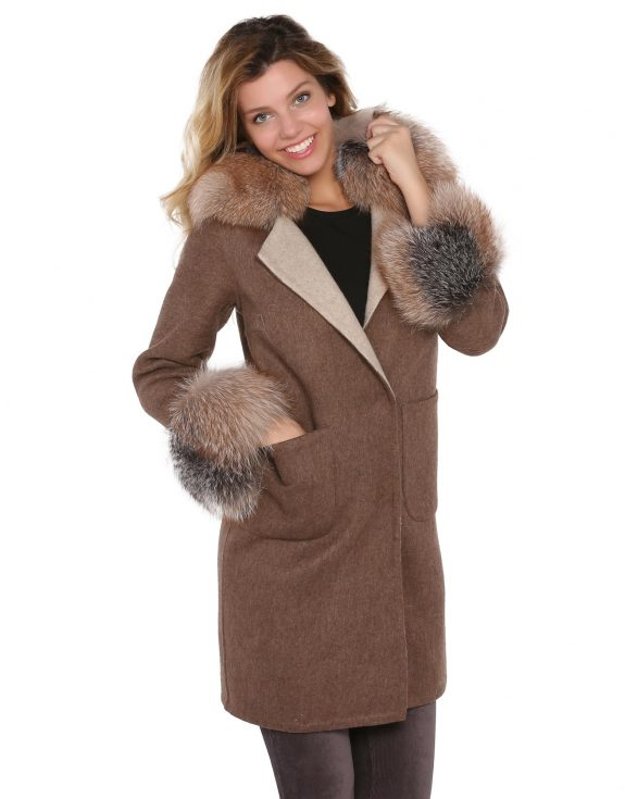 Brown Woman Alpaca Coat